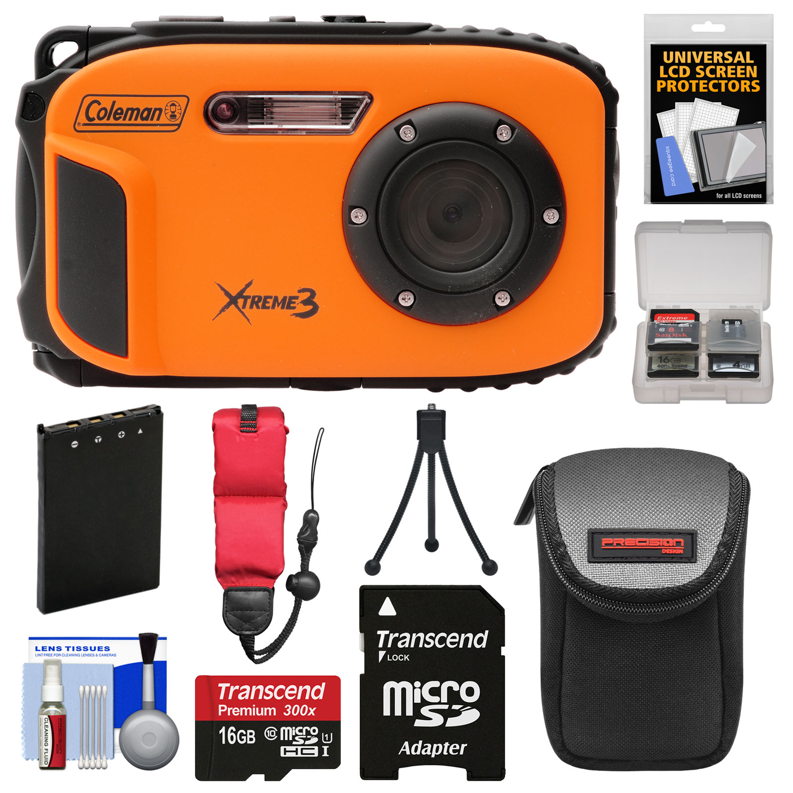 Coleman Xtreme3 C9WP Shock & Waterproof 1080p HD Digital Camera (Orange) with 16GB Card + Battery + Case + Tripod + Float Strap + Kit