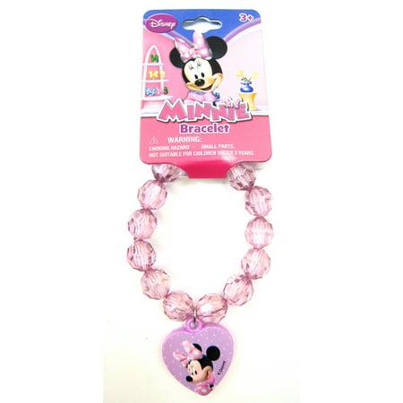 Plastic Charm Bracelets (Minnie Mouse Plastic Bead Bracelet Girls Toddler Purple Heart  Stretchy)