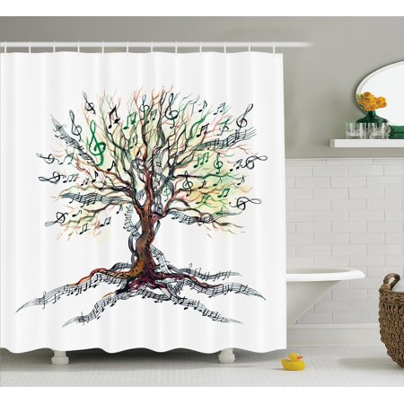 Music Decor Shower Curtain Set Musical Tree Autumn Clef Trunk Swirl Nature Illustration Leaves Creative