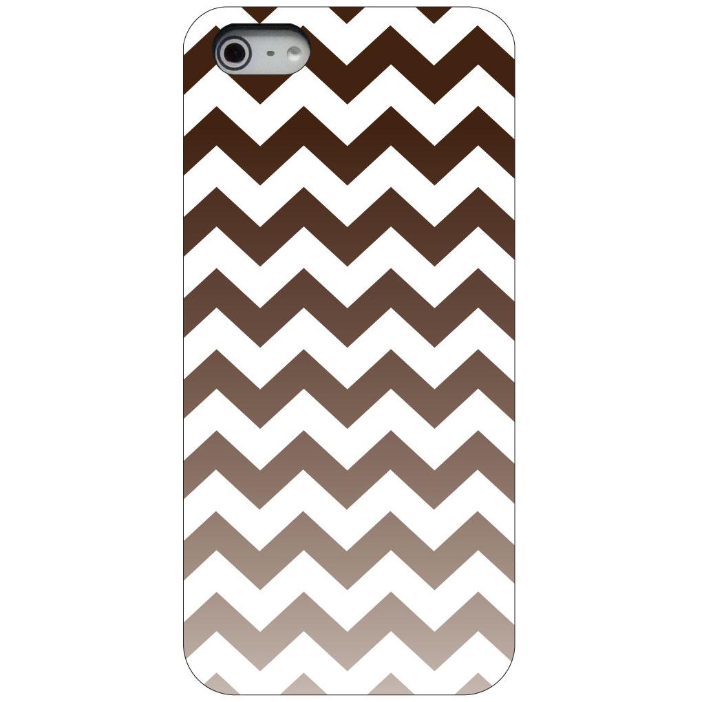 CUSTOM Black Hard Plastic Snap-On Case for Apple iPhone 5 / 5S / SE - White Brown Fade Chevron Stripes