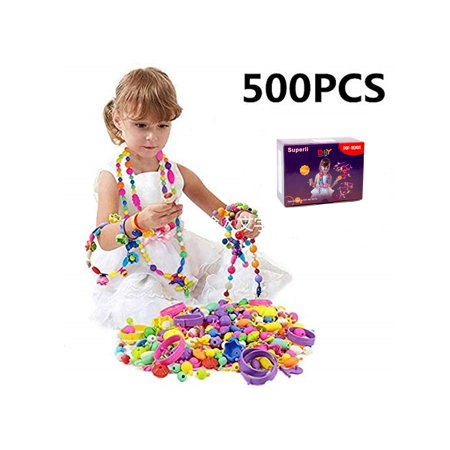 500 Pcs Kids Snap Beads Set - Creative DIY Jewelry Making Kit for Girls Necklace and Bracelet Art Crafts Gifts - Craft Jewelry Art