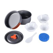 [NEW SALE] 8pcs Outdoor Camping Hiking Cookware Backpacking Cooking Picnic Bowl Pot Pan Set Lightweight Portable Compact