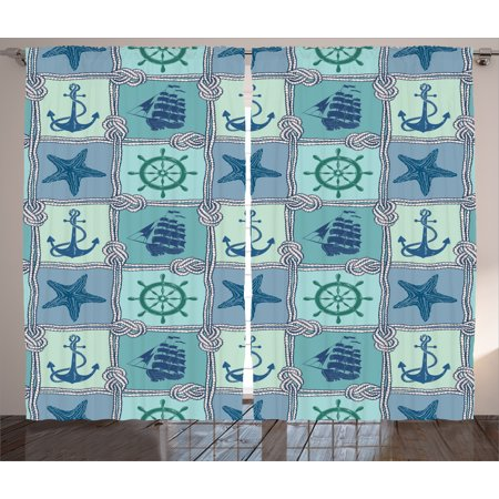 Anchor Curtains 2 Panels Set, Nautical Patchwork Pattern with Ropes Starfish Sailing Ship Anchor and Wheel, Living Room Bedroom Decor, Turquoise Navy, by Ambesonne ()