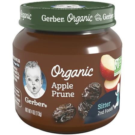 Gerber Organic 2nd Foods Apple Prune Baby, 4 oz Glass Jar (Pack of (Toddler Fashion Glasses)