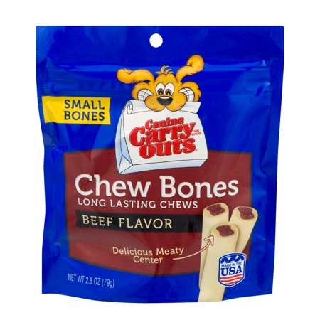Canine Carry Outs Dog Treats Small Bones Chew Bones Beef Flavor  2 8 Oz
