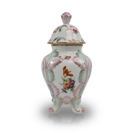 Ceramic Cremation Urn - Small 30 Pounds -  White Gilded Flower - Engraving Sold Separately - Ceramic Flower