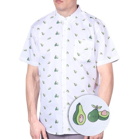 Mens Avocado Hawaiian Shirt Short Sleeve Button Down Up Casual Printed Shirts White (Black And White Plaid Button Up Shirt)