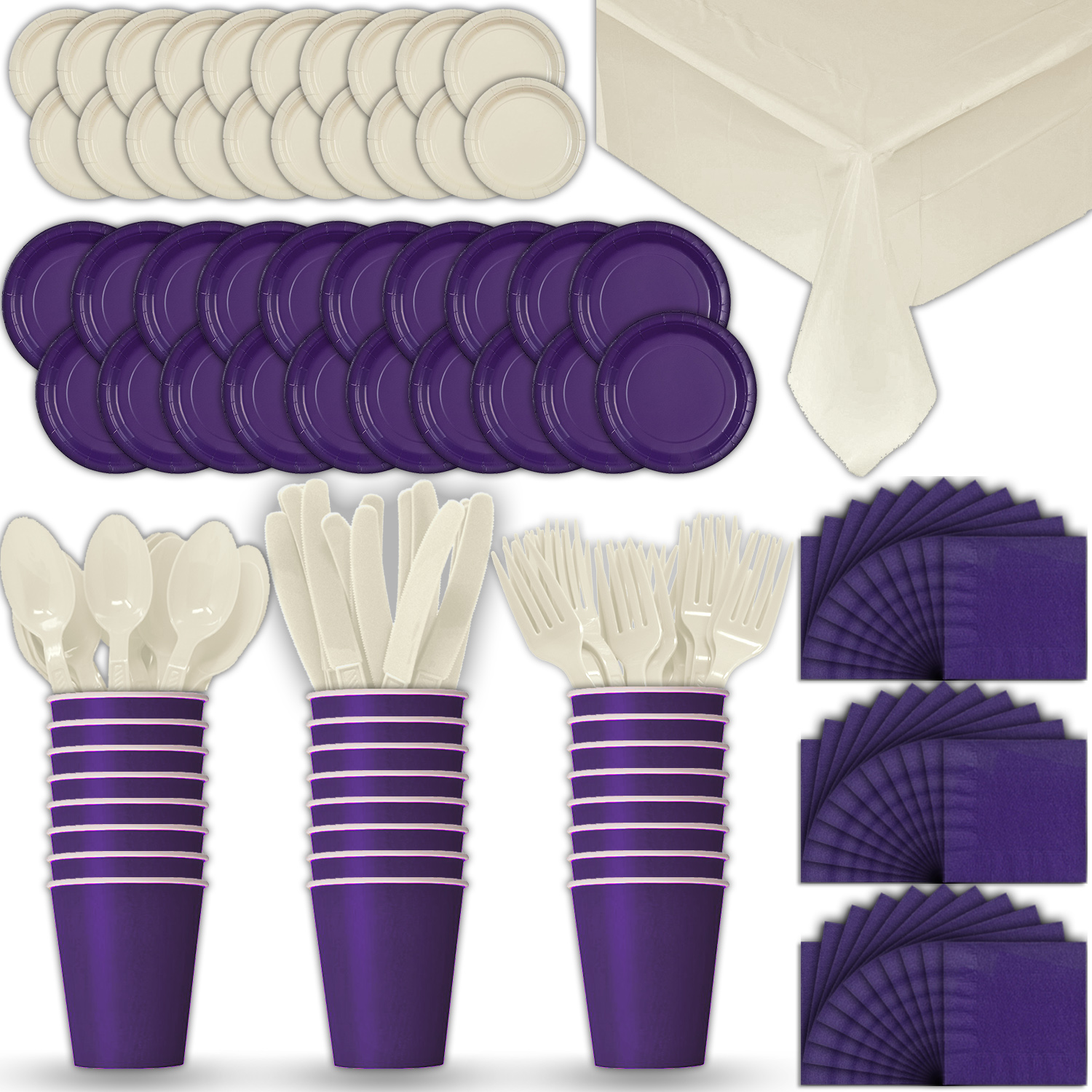 Paper Tableware Set for 24 - Purple & Cream - Dinner and Dessert Plates, Cups, Napkins, Cutlery (Spoons, Forks, Knives), and Tablecloths - Full Two-Tone Party Supplies Pack