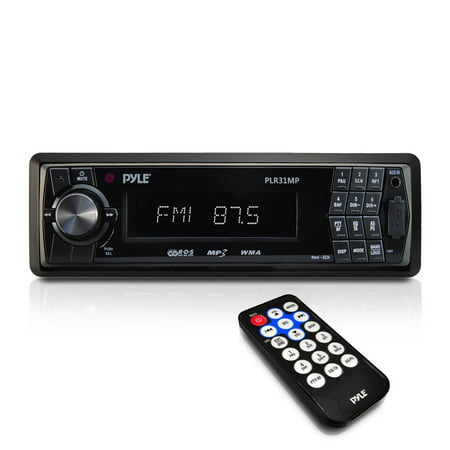 PYLE PLR31MP - Car Stereo Head Unit Receiver - Premium In Dash AM/FM-MPX Tuning Media Radio with MP3 Playback, LCD Display & Preset Station Memory - USB, SD & Aux Inputs - Remote Control (Radio Stations To Listen To At Work)