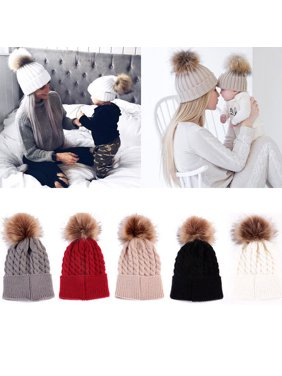 Mommy Women Kids Girls Boys Baby Knit Pom Bobble Hat Winter Warm Beanie Caps