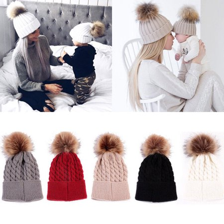 Mommy Women Kids Girls Boys Baby Knit Pom Bobble Hat Winter Warm Beanie - Spy Cotton Beanie