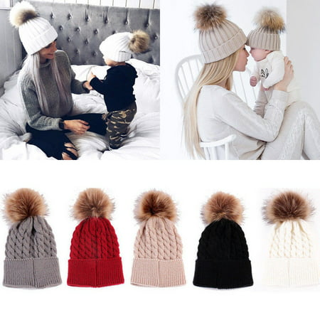 Mommy Women Kids Girls Boys Baby Knit Pom Bobble Hat Winter Warm Beanie Caps (Safari Hats For Kids)