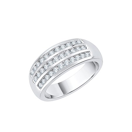 3 Row Diamond Wedding Band in Sterling Silver (1/2 cttw) (I-Color, SI3-I1 Clarity) (Size-8.5)