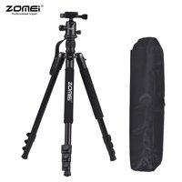 ZOMEI Q555 63inch Lightweight Aluminum Alloy Travel Portable Camera Tripod with Ball Head/ Quick Release Plate/ Carry Bag for Canon Nikon Sony DSLR