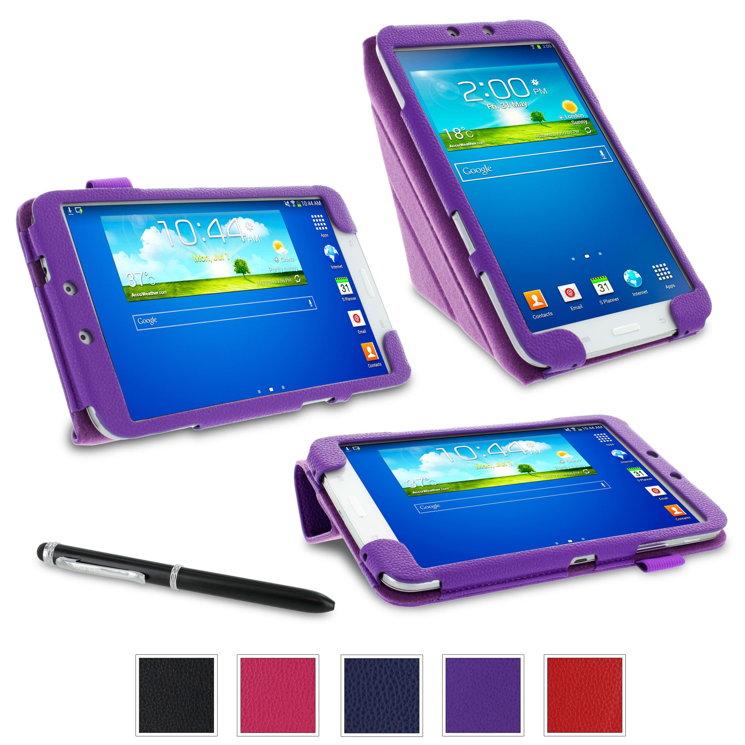 rooCASE Samsung Galaxy Tab 3 8.0 Premium Origami PU Leather Folio Stand Case Cover Auto Wake/Sleep for Galaxy Tab 3 8.0, Purple