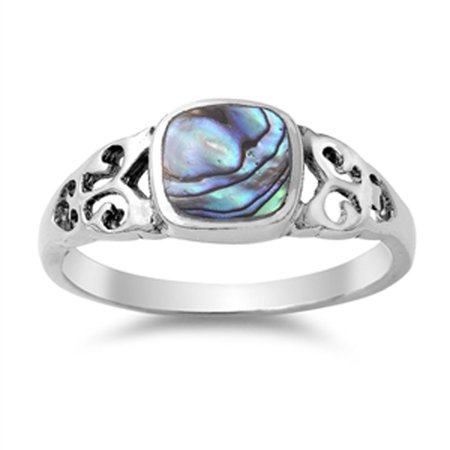 925 Sterling Silver Shell - Women's Unique Simulated Abalone Beautiful Ring New .925 Sterling Silver Band Size 7