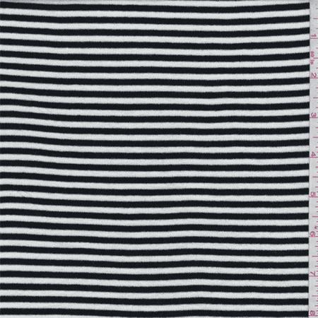 Black/White Stripe Rayon Jersey Knit, Fabric By the