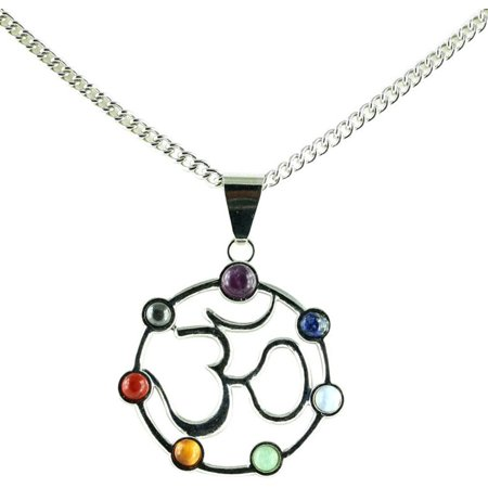 Simplicity  Natural Stone OM Symbol Chakra Adjust Pendant Necklace