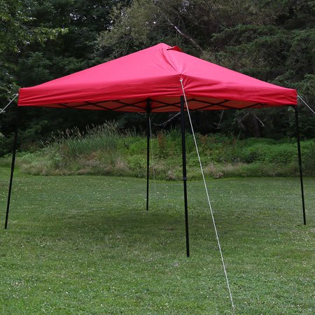 Square Tube Shelter (Sunnydaze Heavy-Duty Straight Leg Quick-Up Instant Canopy Event Shelter, 10 x 10 Foot, Red, Includes Rolling Bag )