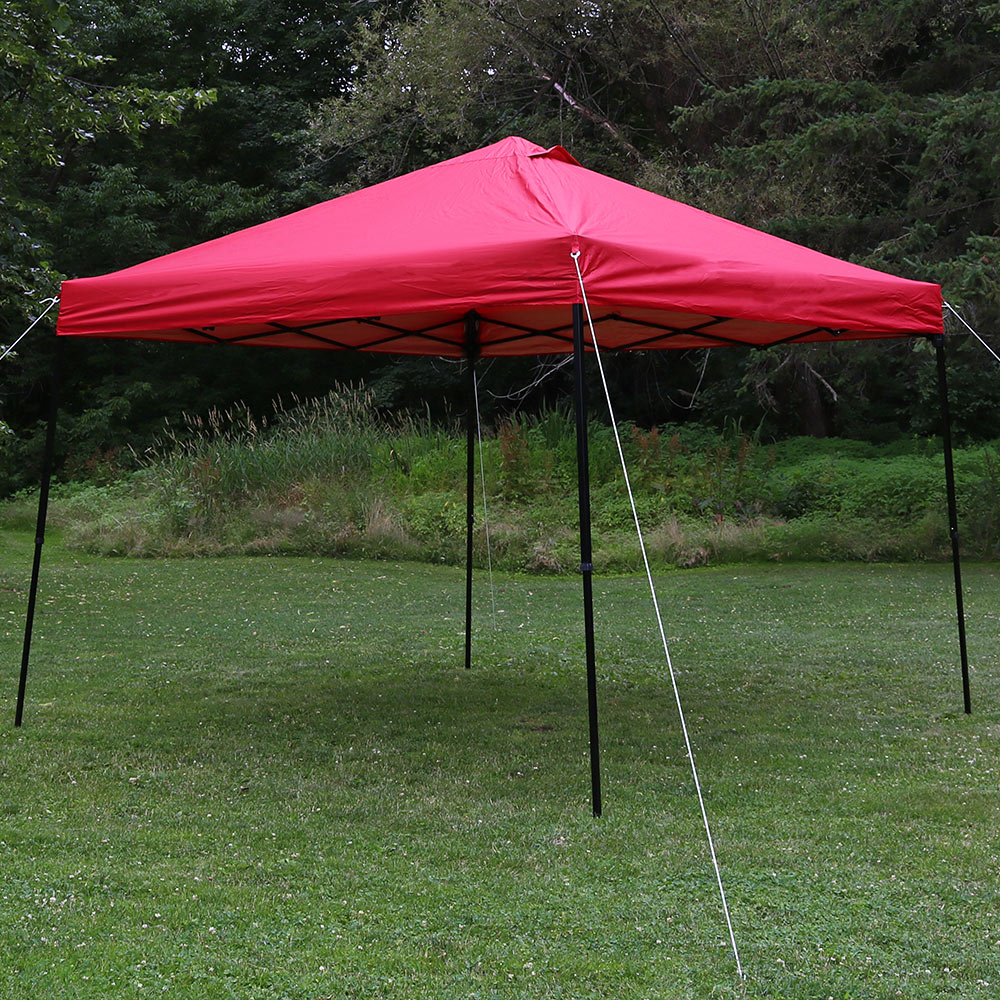 Sunnydaze Heavy-Duty Straight Leg Quick-Up Instant Canopy Event Shelter, 10 x 10 Foot, Red, Includes Rolling Bag