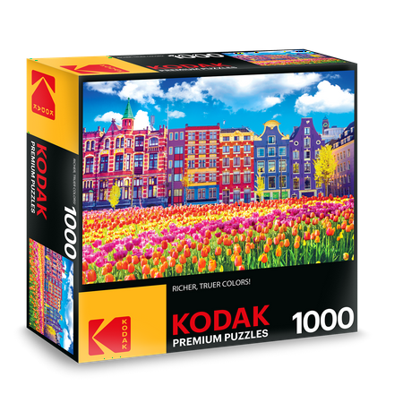 - Kodak 1000pc Puzzle Traditional Old Building and Tulips in Amsterdam