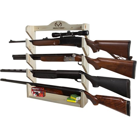 Four Gun - Rush Creek Creations REALTREE 4 Gun Pine Wall Storage Rack