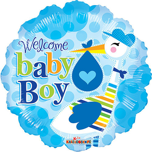 """18"""" Welcome Baby Boy For Baby Shower Blue Foil / Mylar Balloons ( 6 Balloons )"""