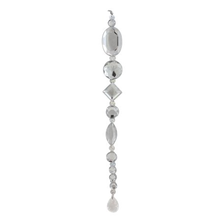 """Allstate 8"""" Beaded Jewel Icicle Drop Christmas Ornament - Clear/Silver"""