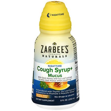Zarbee's Naturals Cough Syrup + Mucus Nighttime with Dark Honey - Herbal Blend with Thyme, Ivy Leaf Extract & Melatonin, Natural Honey Lemon Flavor , 8 Fl. Oz (1 Bottle)