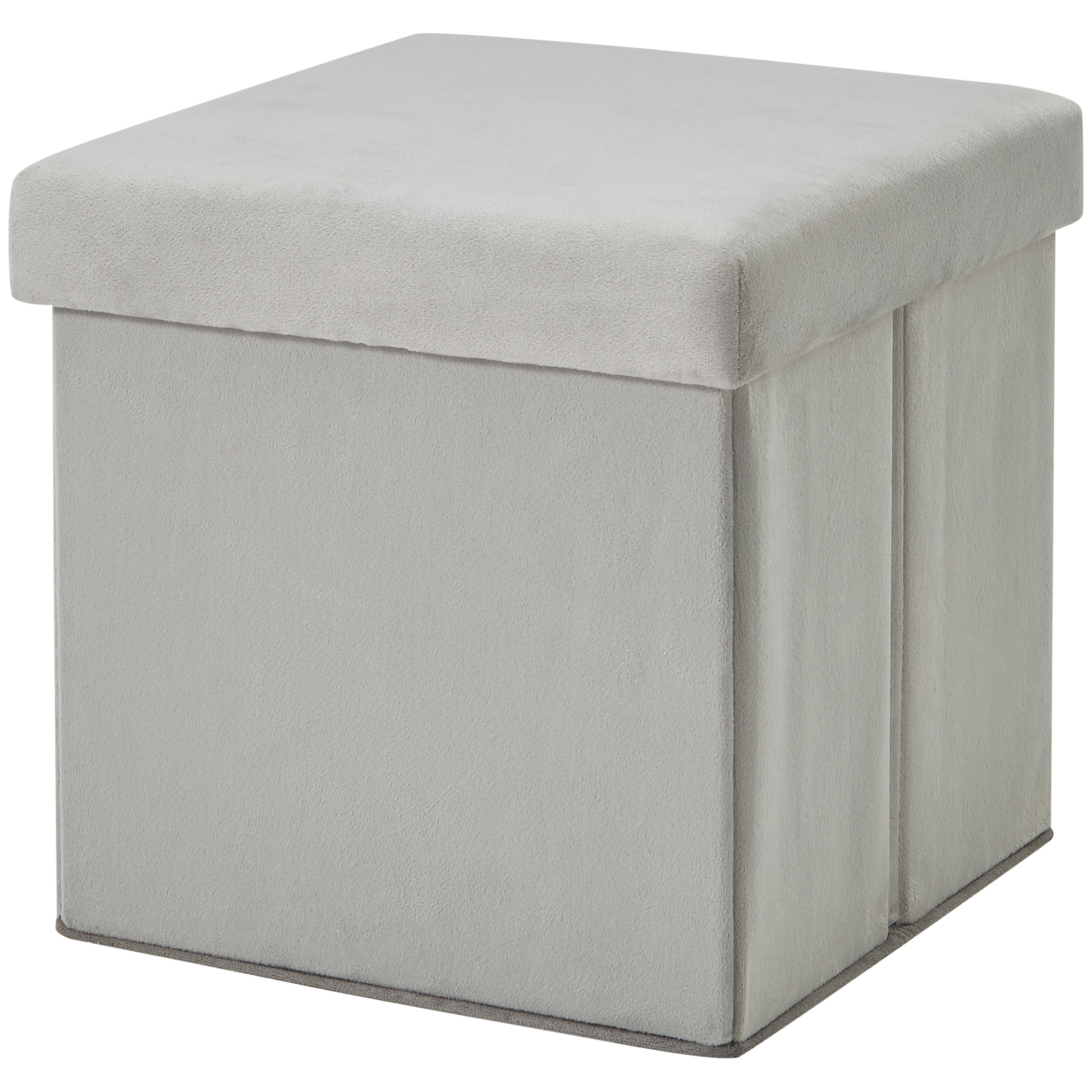 Mainstays Ultra Collapsible Storage Ottoman, Gray Faux Suede