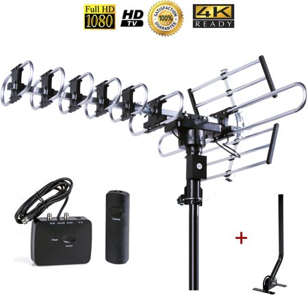 Up to 200 Miles Long range Five Star Outdoor 4K HDTV Antenna with 360 Degree Rotation, UHF/VHF/FM Radio with Remote Control with J-pole (Light Up Antenna)