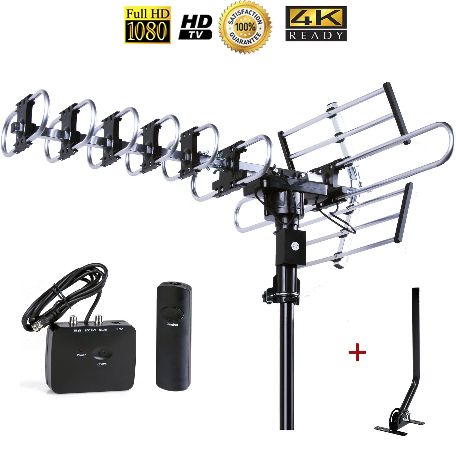 Up to 200 Miles Long range Five Star Outdoor 4K HDTV Antenna with 360 Degree Rotation, UHF/VHF/FM Radio with Remote Control with J-pole