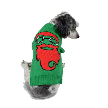 rwb pet santa with goggles ugly christmas dog sweater green - Ugly Christmas Dog Sweater