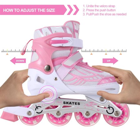 PU Wheel  Adjustable Inline Skates for Boys or Girls, Lighted Rollerblades (Light Up Roller Skate Necklace)