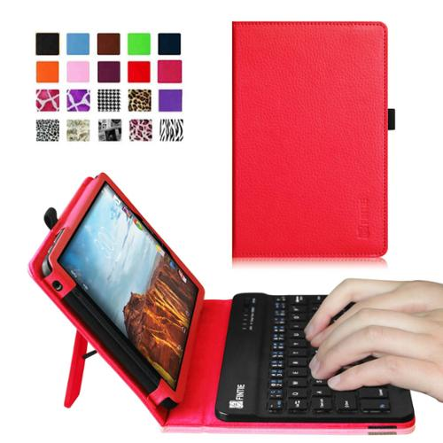 Verizon Ellipsis 8 4G LTE Tablet Keyboard Case - Fintie Slim Fit PU Leather Stand Cover with Removable Keyboard, Red