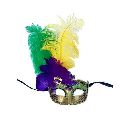 Purple Green Gold Venetian Mask Feather Masquerade Mardi Gras 12