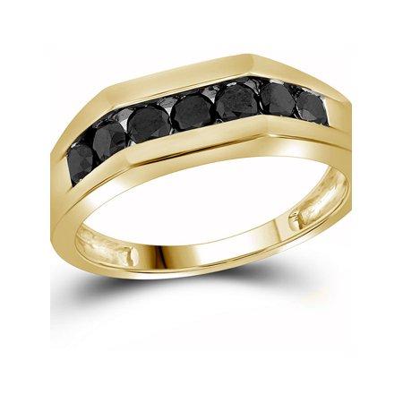 10kt Yellow Gold Mens Round Black Color Enhanced Diamond Wedding Band Ring 1.00 Cttw - image 1 de 2