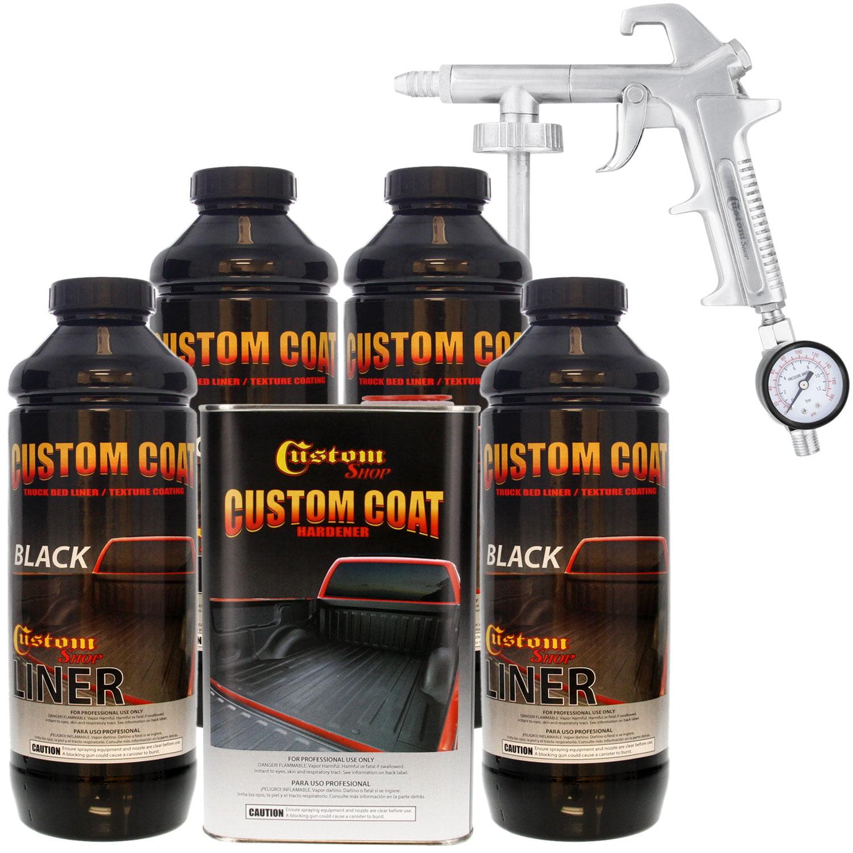 Bed Liner CUSTOM COAT BLACK 4-L Urethane Spray-On Truck Kit w/ FREE Spray Gun
