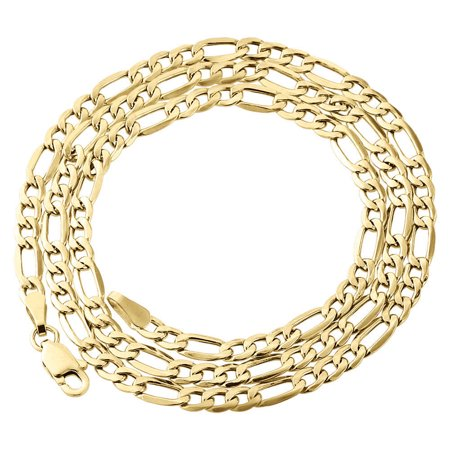Real 10K Yellow Gold Solid Figaro Chain 2.50mm Necklace Lobster Clasp 16 Inch