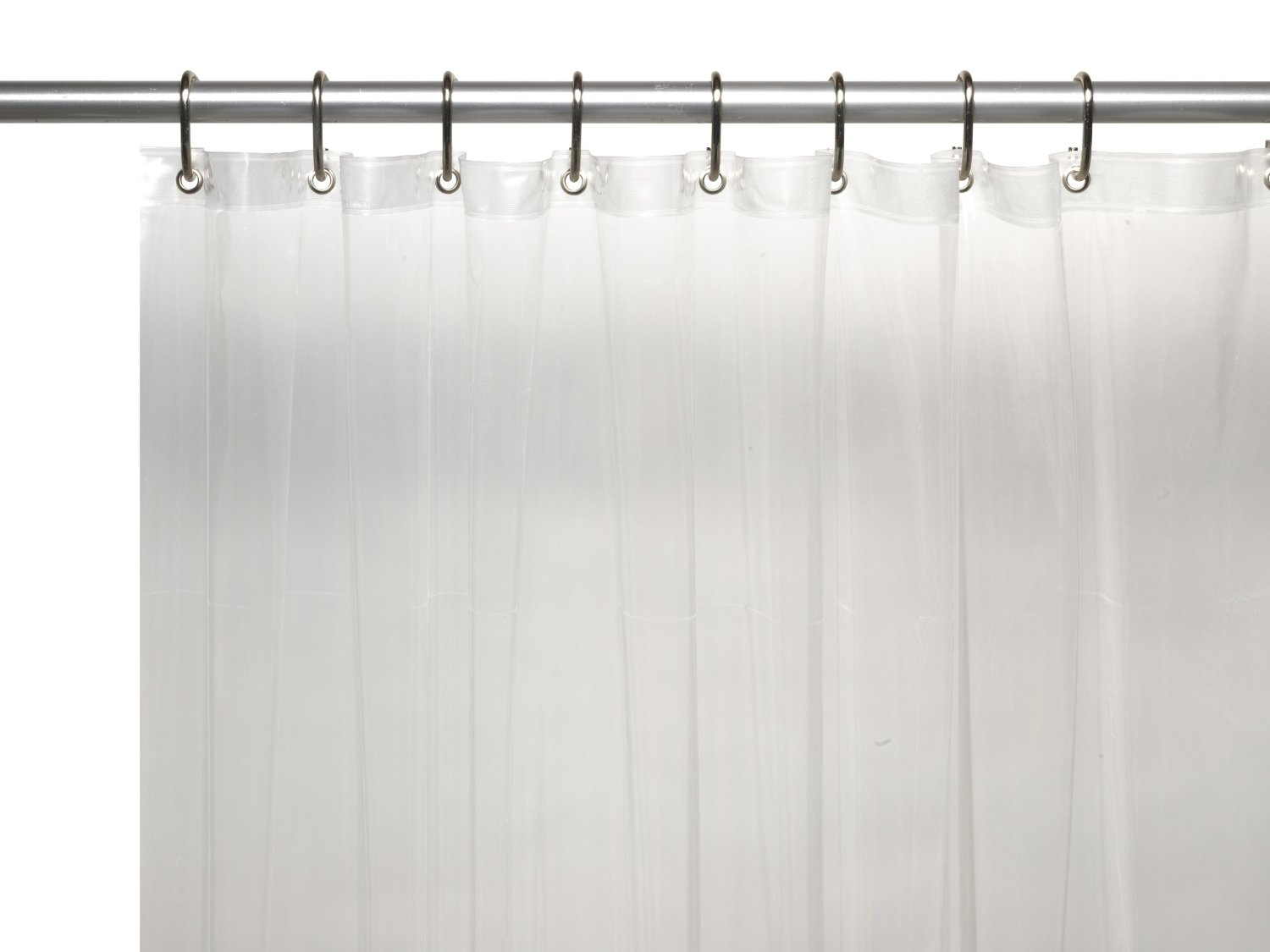 Black 3 Gauge Vinyl Shower Curtain Liner with Weighted Magnets and ...
