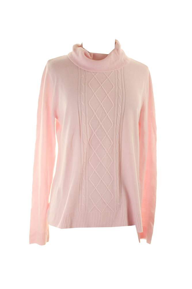 Karen Scott Pink Ice Long-Sleeve Turtleneck Cable-Knit Sweater L