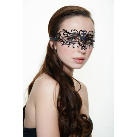 KAYSO INC BD004BLBK LUXURY SIMPLE FLORAL LASER CUT MASQUERADE MASK (BLACK WITH BLUE RHINESTONES)