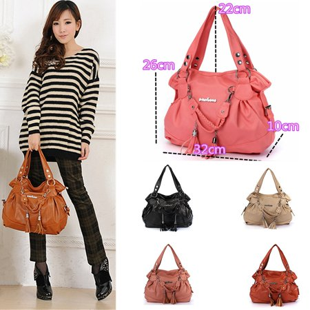 Fashion Leather Tassel Handbags For Women Shoulder Bag Purse Messenger Shopper Tote Bag,Brown color