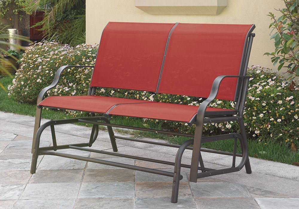 Outdoor Patio Swing Glider Loveseat Bench Chair Steel Frame In Red