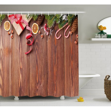 Christmas Shower Curtain, Rustic Wooden Planks with Seasonal Items New Year Celebration in Country, Fabric Bathroom Set with Hooks, 69W X 70L Inches, Redwood Green Red, by Ambesonne (New Year Items)