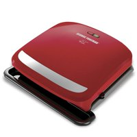 George Foreman 4-Serving Removable Plate Grill and Panini Press. Red. GRP360R