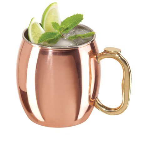 Oggi Copper Plated Stainless Steel 20 Oz. Moscow Mule Mug with Brass Handle ()