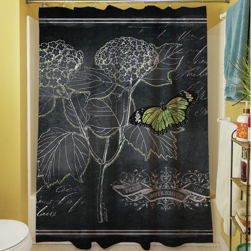 Manual Woodworkers & Weavers Chalkboard Botanical I Shower Curtain