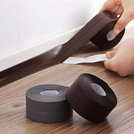 Dilwe Waterproof Kitchen Sink Basin Edge Mildew Wall Sealing Strip Sealant Tape (Rubber Sealing Strip)