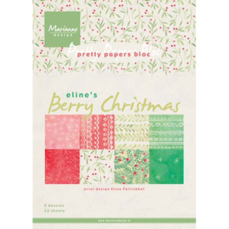 Marianne Design A5 Pretty Paper Bloc - Berry Christmas (Pretty Paper)